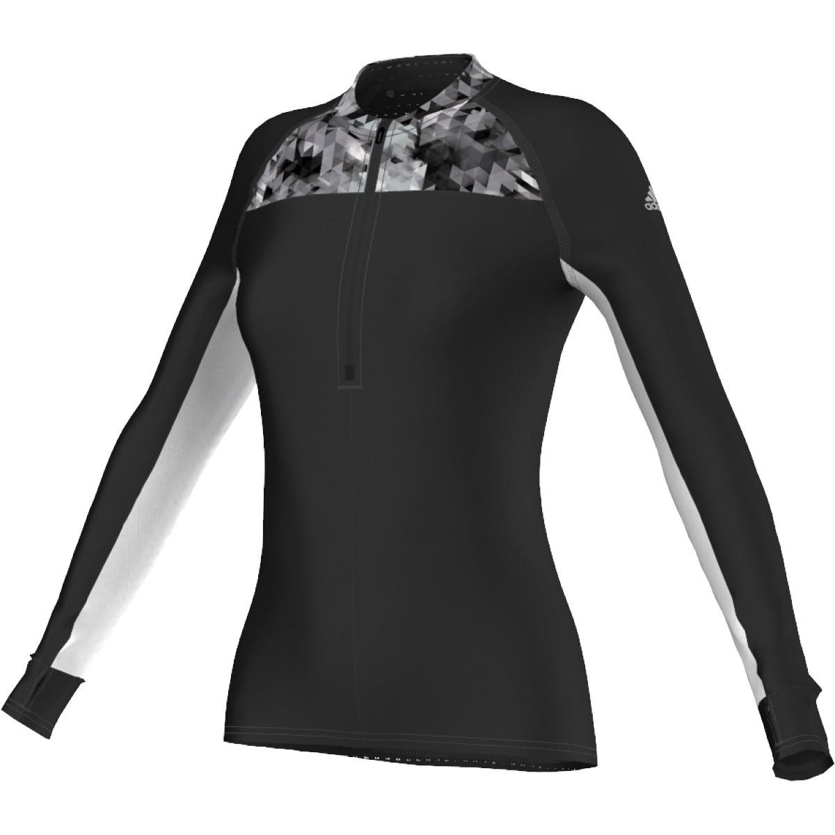 c1626acf42aa Dámske tričko s dlhým rukávom ADIDAS S10115 TR 1 2ZIP LS W black white